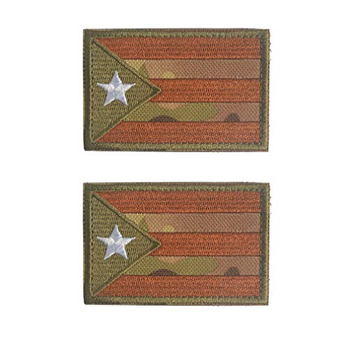 2 Pieces World National Flag Velcro Patch America Asian European Countries Flags Velcro Patches Embroidery Tactical Military Morale Patch Set JHZ5 Puerto Rico Army Green