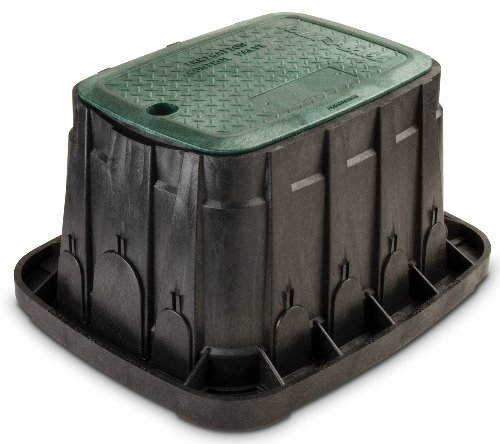 Rain Bird VBREC12 Rectangular Sprinkler Valve Box, Black with Green Lid, 12' High