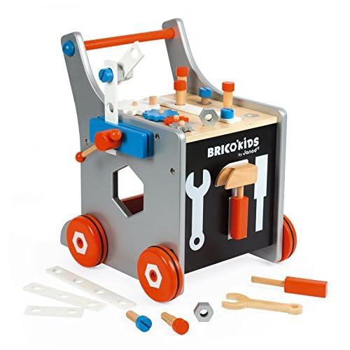 Janod - Briko'Kids carrello porta attrezzi magnetico (legno), giocattolo di imitazione, 25 attrezzi e accessori inclusi, per bambini dai 18 mesi in su, J06478, multicolore