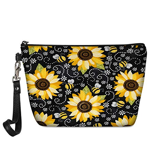 Aulaygo Bee Yellow Sunflower Printed Durable Leather Makeup Bags Zipper Clusure Handle Pouch Travel Shower Toilet Container Purse Women Cosmetic Case