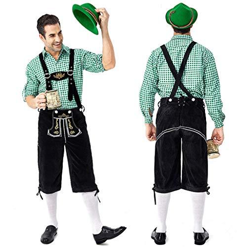 Allence Trachten Set Herren Lederhose Trachten Weste Trachtenlederhose Kniebundhose mit Trägern für Bayerisch, Oktoberfest, Hochzeit