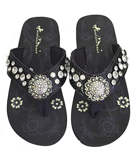 Montana West Women Flip Flops Shiny Bling Sandals Crystals Floral Concho Black 10