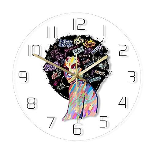 GAVA Reloj de cocina Mujer Africana Americana Pintura Silueta Acrílico Impreso Reloj de Pared Abstracto Arte de Pared Contemporáneo Decoración del Hogar