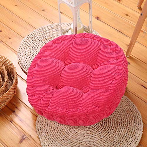 xdvdfvbdf Reversible Soft Floor Mat,Indoor Outdoor Pad Home Office Patio Dining Chair,Thick Tatami Cushion,Round Pillow Chair Cushion Rose Red D45cm(18inch)