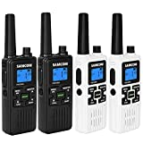 4 Walkie Talkies for Adult Kids Rechargeable FRS Handheld 2 Way Radio Long Range with Earpiece USB Charger Battery NOAA Weather Alert, VOX, LED Lamplight,Black+White