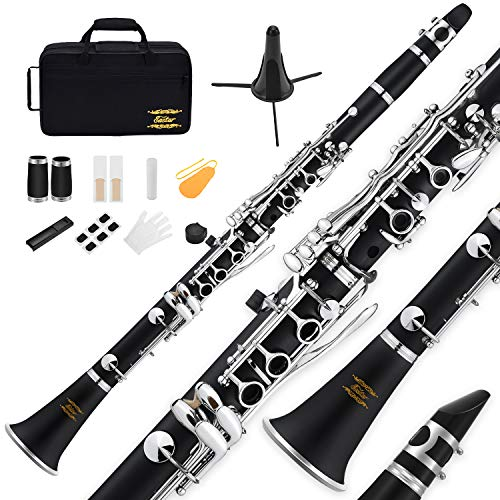 Eastar B Flat Clarinet Black Ebonite Clarinet Student Beginner, Nickel-plated Keys, with Mouthpiece, Protective Cap, 2 Connector, 8 Occlusion Rim, Clarinet Stand, 3 Reeds, Hard Case and More Keys