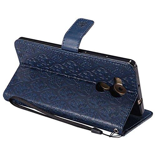 pinlu® PU Leder Tasche Handyhülle Für Huawei Ascend Mate 8 (6zoll) Smartphone Wallet Hülle Mit Standfunktion und Kartenfach Design Rattan Blume Prägung Dunkelblau - 4