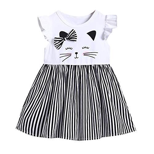 Luoluoluo meisjesjurk feestelijk met ruches kat bedrukt zomerjurk korte vrije tijd korte mouwen jurk gestreept vintage prinses jurk kinderen kleding zomerjurk party jurk