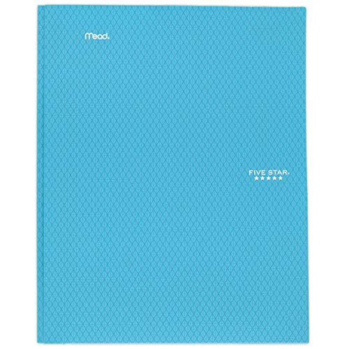 """Five Star 2-Pocket Folder, Stay-Put Folder, Plastic Colored Folders with Pockets & Prong Fasteners for 3-Ring Binders, For Home School Supplies & Home Office, 11"""" x 8-1/2"""", Teal (72107)"""
