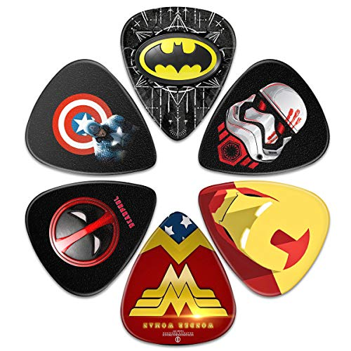 Guitar Picks – Surmoler 6 Pack Universal Plastic Guitar Picks for Acoustic and Electric Guitar (Superheros)