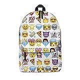 Fringoo - Mochila escolar unisex estampada, equipaje de cabina/gimnasio multicolor Emoji Purple...