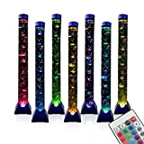 4FT LED Bubble Tube Floor Lamp Extra Large Aquarium Lamp with 10 Fish and Remote Control 20 Light Changes Tall Water Tower Tank Night Light for Bedroom Office Gift for Kids Men Women