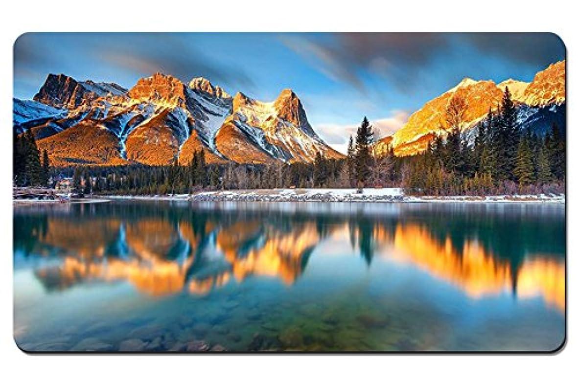 ソフィー医師帽子カナダ、アルバータ、キャンモア、湖、山、木、朝 パターンカスタムの マウスパッド 旅行 風景 景色 デスクマット 大 (60cmx35cm)