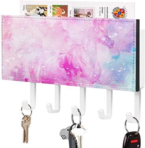Mail sorteerderSleutelhouder Wandgemonteerde sleutelhaak Abstracte kunst dier paard hoofdbord Wall Entryway Mailhouder Decoratieve Key Organizer Rack met 5 hakenwitpatroon1