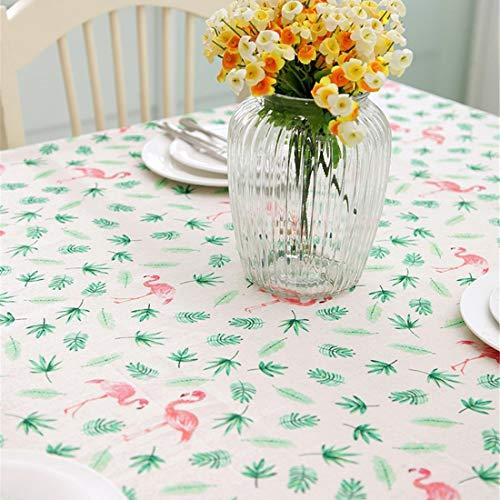 JameStyle26 Flamingo motief katoen tafelkleed keuken tuin woonkamer vuilafstotend onderhoudsvriendelijk robuust huis decoratie bladeren