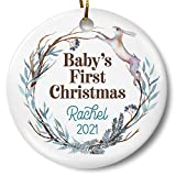 Personalized Baby's First Christmas 2021 Ornament, Newborn Gift, Holiday Keepsake for New Parents 3...