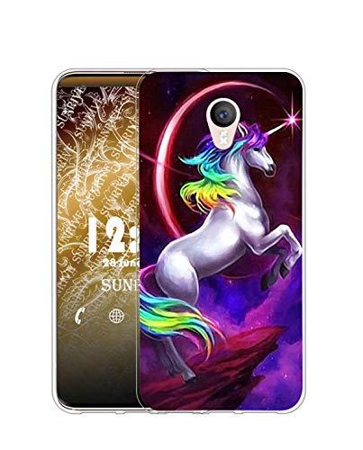 Sunrive Funda Compatible con Meizu M3 Note, Silicona Slim Fit Gel Transparente Carcasa Case Bumper de Impactos y Anti-Arañazos Espalda Cover(Q Unicornio 1)