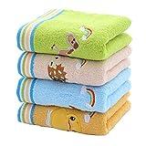 YUMU CASA Weiche Kinder-Handtücher Baby Handtücher Waschen Bad Dusche Wischen Stillen Stickerei niedliches Tier-Design 25 x 50 cm Set von 4