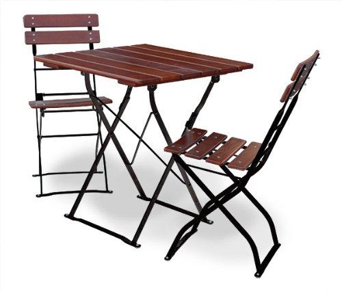 EuroLiving Biergartengarnitur 1x Tisch 70x70 cm & 2X Stuhl Edition-Classic Kastanie/schwarz