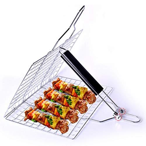 YYF Grillgitterclip Abnehmbarer Edelstahl-Grill Netto-Klappgrillrost quadratisch gegrillt Gemüsekorb Fisch Netto-Clip gegrillt