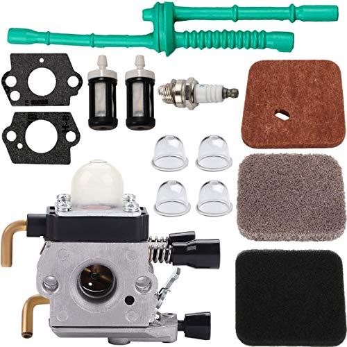 ZAMDOE Carburador C1Q-S97 para cortadora de Hilo STIHL FS55 FS55R FS55C FS45 FS75 FS80 FS85 HS75 C1Q-S143 C1Q-S153 C1Q-S186 A B, con Filtro de Aire Kit de línea de Combustible