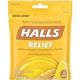 Halls Honey Lemon Cough Drops - with Menthol - 14 Drops (1 bag of 14 drops)