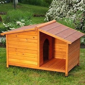 Niche pour chien 4saisons en bois huilé–Niche avec terrasse Abri–Idéal pour Garder Votre quatre pattes ami protégé de tous les éléments