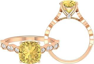 Anello solitario con citrino da 8,5 mm, D-VSSI, in oro moissanite, anello di fidanzamento, anello di fidanzamento, solitar...