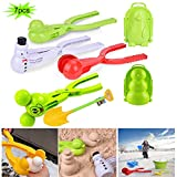 NEKRASH Snowball Maker Tools for Kids-7 Pieces and for Kids and Adults Snow Ball Fights, Fun Snowball Toys for Winter Outdoor Activities