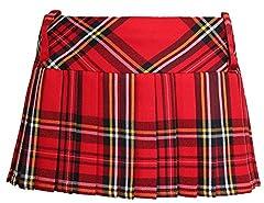 Ladies Women Girls Scottish 12 Inches Tartan Check Pleated Mini Short Kilt Skirt 6 Colours (Women: 12, Red)