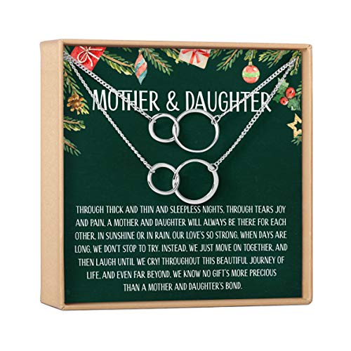 Mother & Daughter Christmas Necklace Set - Heartfelt Card & Jewelry Gift Set (Set of 2 - Infinity Circles - Silver)