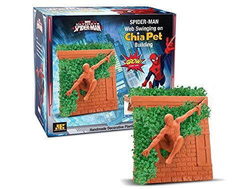 Chia Pet Spider-man Web Swinging on Chia Pet Building by Chia