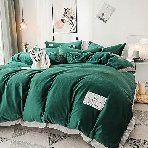 funda de edredón cama 90-Terciopelo de cristal engrosado de cuatro piezas funda nórdica de franela de doble cara de invierno sábana...