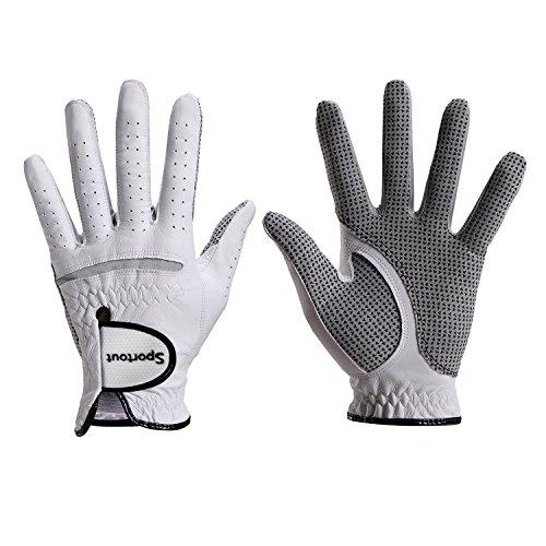 Sportout Herren compression-fit stable-grip echtem Cabretta-Leder Golf Handschuh, Super Weich, Flexibel, tragen beständig und angenehm, XXXL, weiß