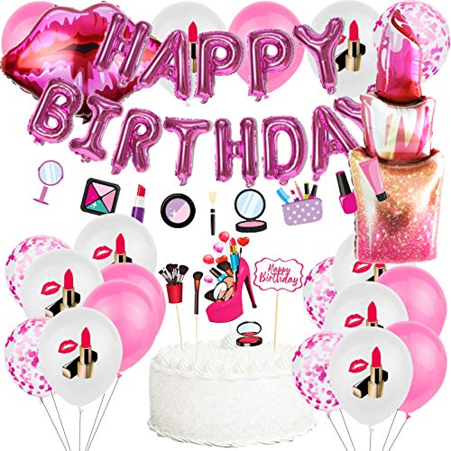 SPA Makeup Party Supplies with Spa Latex Balloon,Lipstick Foil Balloons,Happy Birthday Balloons Banner,Make Up Garland Banner Cake Toppers for Kids Nail Girl Theme,Salon,Spa Birthday Party Decorations