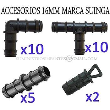 Pack RIEGO POR GOTEO 16MM: 10 te + 10 codo + 5 enlace + 2 tapón ...