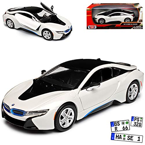 Motormax B-M-W I8 Coupe Crystal Pearl Weiss Metallic mit Dach in Schwarz Ab 2013 1/24 Modell Auto