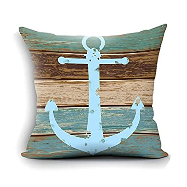 oFloral Home Decorative Nautical Anchor Rustic Wood Cotton Throw Pillow Case Cushion Cover Standard Size 18 x18  Square - Perfect for Birthday,Present for Dad,Mom,Aunt,Uncle,Daughter,Sister,Brother