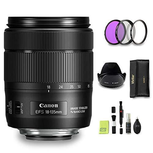 GYTE Bundle | Objetivo Canon - EF-S 18-135 mm f/3.5-5.6 IS USM - Teleobjetivo para Cámara Reflex Digital + Kit de Filtro de 3 Piezas + Parasol + Juego de Limpieza | Paquete de Accesorios Premium