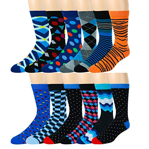 Men's Cotton Blend Socks, Fun and Funky Patterns and Colors -12 Pack- by Zeke Fun Times, Fits Shoe size 6-12 The Party Collection