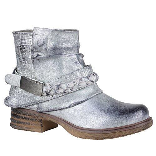 Damen Stiefeletten Biker Boots Nieten Schnallen Leder-Optik Schuhe 148778 Silber Flechte 39 Flandell