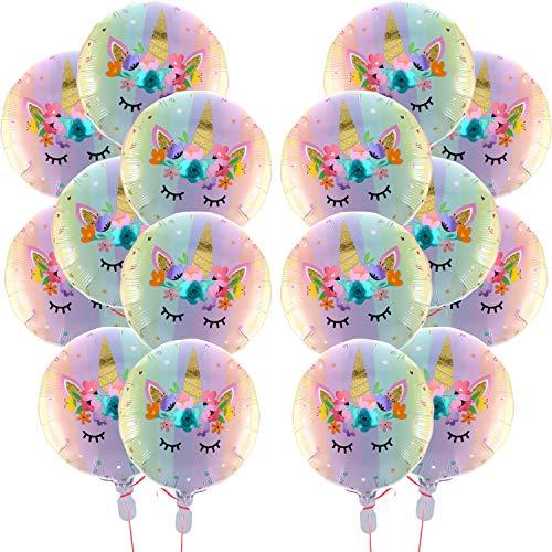 18 Zoll Pastell Regenbogen Einhorn Folie Mylar Luftballons für Geburtstag Party Hochzeit Dekorationen Lieferungen (16 Stücke)