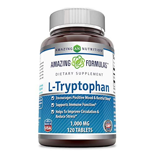 Amazing Formulas L-Tryptophan - 1000 Mg,120 Tablets (Non-GMO,Gluten Free) - Encourages Positive Mood & Restful Sleep - Supports Immune Function - Helps to Improve Circulation & Reduce Stress.
