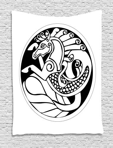 Ambesonne Celtic Tapestry, Druidic Astronomical of Unicorn Water Horse in Circle Pattern Artwork, Wall Hanging for Bedroom Living Room Dorm Decor, 60' X 80', Black and White
