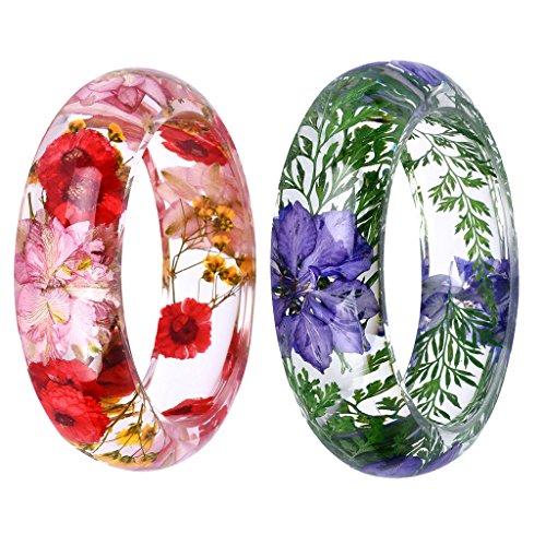 chiwanji 2er-Set Handgefertigte Lucite Kunststoff getrocknete Blume Harz Armband Manschetten Armreif Armreif Mehrfarbig