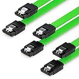 deleyCON 3X 50cm SATA 3 Nylon Cable Set Cable de Datos Cable de Conexión 6 Gbit/s Placa Base HDD SSD Disco Duro 2 Conector S-ATA Recto Verde