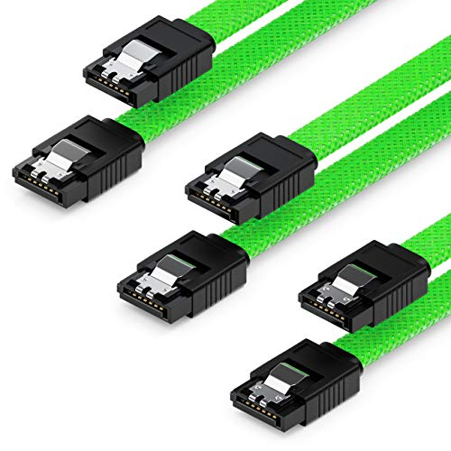 deleyCON 3X 50cm SATA 3 Nylon Kabel Set Datenkabel 6 Gbit/s Anschlusskabel Verbindungskabel Mainboard HDD SSD Festplatte 2 S-ATA Stecker Gerade Grün