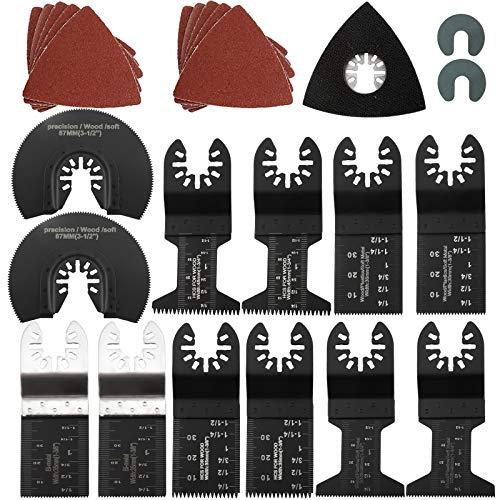 23 PCS Metal Wood Oscillating Multitool Saw Blades, Fit Porter Cable, Black & Decker, Craftsman, Ridgid, Ryobi, Milwaukee, Dewalt, Rockwell Chicago Etc.