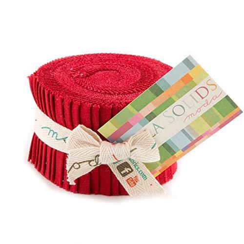 Bella Solids Red Jr Jelly Roll (9900JJR 16) by Moda House Designer for Moda, 2.5 x 44 inch strips