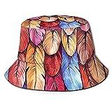 N \ A Pluma Negro Sombrero De Cubo Al Aire Libre Plegable Sombrero De Pescador Moda Pescador Playa Sombrero De Sol Femenino Adolescente